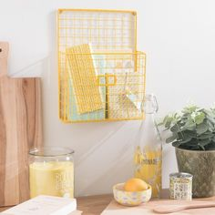 LEMON mustard yellow wall mount magazine holder