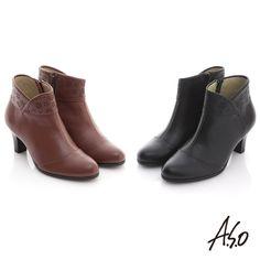 $3990-A.S.O 奈米系列 全真皮側V雕花奈米短靴 紅咖 - Yahoo!奇摩購物中心