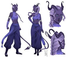 blue / purple / lilac skinned tiefling character concept portraits female with horns and long tail fighter / monk Fantasy Character Design, Character Creation, Character Design Inspiration, Character Concept, Character Art, Character Sheet, Concept Art, Dungeons And Dragons Characters, Dnd Characters