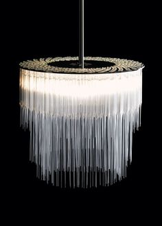 chandelier made of pipettes by Tom Kirk