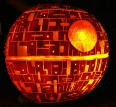 """The Death Star ~ Random Pumpkin Carving Tip: """"You can create an opening at the bottom of the pumpkin to accommodate a light source. But if you opt for a lid, make sure you cut out a notch for hassle-free replacement. Angle your cuts inward to prevent the lid from falling in."""""""