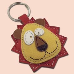 Cute Little Red Lion Animal Leather Keychain by snis on Etsy