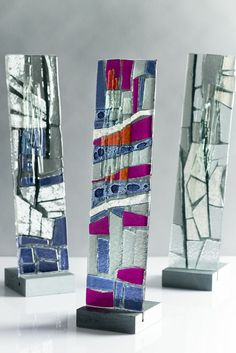 Bespoke kiln formed glass, standing in slate base. www.jovincent.com Kiln Formed Glass, Geology, Slate, Bespoke, Bookends, Stained Glass, It Cast, Colours, Decorations