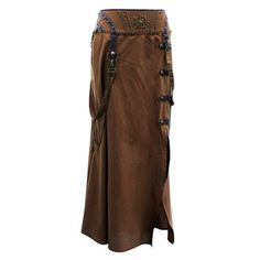 EW-106 - Brown Steampunk Style Skirt with Intricate Detailing - MADE TO ORDER - Skirts - Fashion Corsets