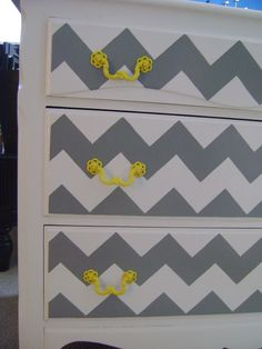 Re-dressed Dresser - Painted Chevron and yellows! Everyday Everything