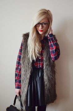 Checked Shirt, Leather Skirt, Fur vest