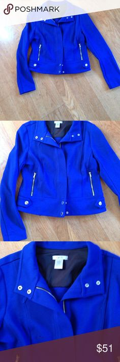 Cache cobalt blue jacket Sz 8 Cache zip up cobalt blue jacket. Gently used. No marks or holes. Great condition. Sz 8.  Bundle with two or more items for private discount ✌🏻️🦄🦄 Cache Jackets & Coats Blazers