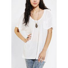 Truly Madly Deeply Scoopneck Slouch Pocket Tee ($24) ❤ liked on Polyvore featuring tops, t-shirts, white triblend, scoop neck t shirt, oversized tee, long white t shirt, long tee and white t shirt