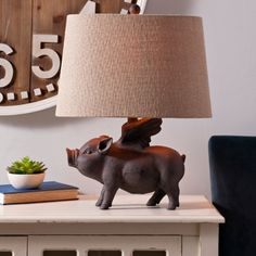 Antique Flying Pig Table Lamp