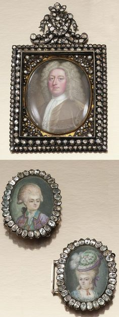 MINIATURE PORTRAIT OF A GENTLEMAN, C. F.ZINCKE, CIRCA 1730 & PAIR OF MINIATURE PORTRAITS, CONTINENTAL SCHOOL, CIRCA 1770. Comprising: a portrait miniature of a gentleman, with a full bottomed wig, wearing a green velvet coat & a white jabot, circa 1730; together with a buckle, designed as a pair of oval portraits of a young gentleman with powdered hair, wearing a purple coat with a green collar, & a young lady with a feathered hat, wearing a blue dress, within a border of oval paste, c…