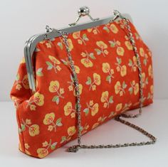 #Orange Print Cotton Clutch with Chain by LouisaDesigns on Etsy