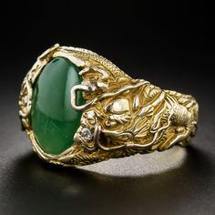 Chinese Jade Gent's Ring with Dragons