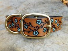 Personalized Dog Collars, Handmade Dog Collars, Dog Collars & Leashes, Leather Dog Collars, Collar Designs, Collar And Leash, Leather Tooling, Leather Craft, Turquoise
