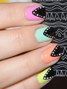 Creative and Simple Nail Art -   ps. remake it into shark!
