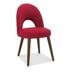 Vale Furnishers Carnaby Walnut Upholstered Dining Chair in Red Fabric