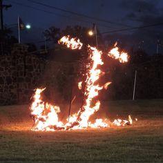 Flaming J - Jacksonville Fightin Indian football game - Tx 2014