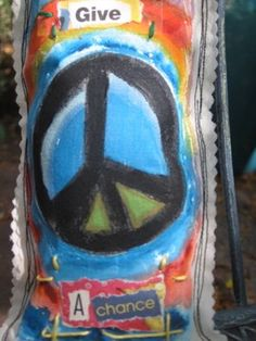 Give Peace A Chance mixed media art pillow by destash4u on Etsy, $20.00