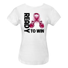 Multiple Myeloma Ready to Win Women's Fitted T-Shirts spotlighting boxing gloves shaped into an awareness ribbon for activism, defiance and a winning attitude  #MultipleMyelomaAwareness