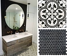 Looking for Bathroom inspiration? Create this look using our 'Black Matte Penny round' on the wall and the 'Carla Bianco' tile on the floor#design #stone #interiordesign #interiorstyling #inspiration #bathroom #wall #floor #tiles #architecture #home #house #ideas #melbourne #brunswick #l4l #likeforlike #likes #f4f #followers