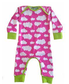 Jumpsuit van JNY roze wolken jersey en lime groene boordjes