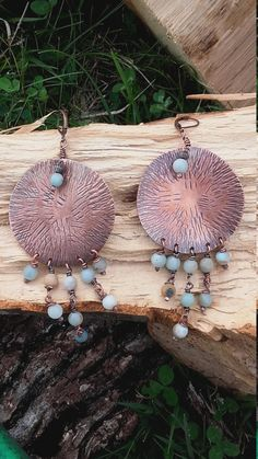 Statement Copper earrings with natural Amazonite beads,Statement earrings,Gypsy style earrings ,Bohemian earrings,Boho earrings,Copper by Tangledworld on Etsy