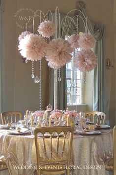 Beautiful Dusky Pink Pom Poms with Crystal Droplets hang from our fabulous Multi Arm Table Centrepieces on this luxurious Pink & Gold themed Table....all by Wedding & Events Floral Design www.weddingandevents.co.uk