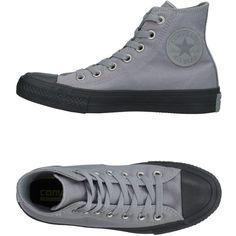 Converse All Star Chuck Taylor Ii High-tops & Sneakers ($69) ❤ liked on Polyvore featuring shoes, sneakers, grey, grey high tops, high top shoes, flat shoes, converse trainers and grey flat shoes