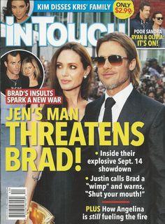 In Touch magazine Angelina Jolie Brad Pitt Jennifer Aniston Kim Kardashian