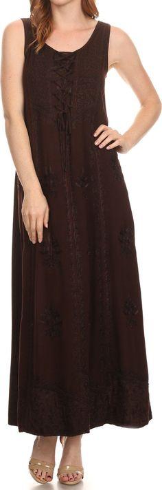 Sakkas Stella Long Tank Top Adjustable Caftan Corset Dress With Embroidery