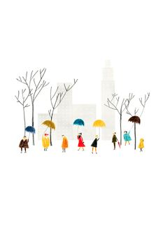 illustration, winter, people, scene, christmas, town, cute, drawing, colour, umbrella