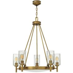 "This mid-century silhouette chandelier light incorporates the best in retro simplicity. Cast knobs, hinges and stems in an Antique Brass finish with clear seedy glass cylinders convey sleek elegance for a look that is at once modern and timeless. 5x100 watt medium base lamps max.(30.8""Hx27""W)Supplied with 120"" of chain and 144"" of wire and 5"" round canopy."