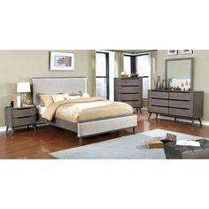 Furniture of America Corrine II Mid-Century Modern Upholstered Size Platform Bed