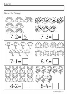 Spring Kindergarten Math and Literacy Worksheets & Activities No Prep. Subtraction with pictures. Math Literacy, Kindergarten Math Worksheets, Preschool Math, Math Classroom, Teaching Math, Math Activities, Math Subtraction, Kindergarten Prep, Math For Kids