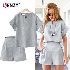 LIENZY Summer Women Office Suit Basic T Shirt Short Sleeve + Wide Leg Short Pant Blue Grey Flax Women Two Piece Set XL-5XL #Affiliate