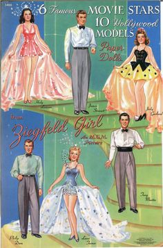 The original Ziegfeld Girl paper doll book was published in 1941, by Merrill Publishing, catalog #3366, and is now very rare to find uncut. The images on this page were scanned from a special not-for-sale reprint made by Jean Woodcock in the late eighties as a convention souvenir.