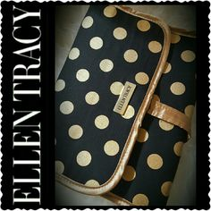 Ellen Tracy Travel Organizer Ellen Tracy Cosmetic or Jewelry Organizer, a Traveler's Buddy in Gold Tone Hardware, Black Canvas with Gold Circle Sparkles Design, Multiple Compartments with Built in Hanger.   Three-Fold with Snap Button Closure, Mint Ellen Tracy Bags