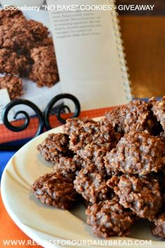 These no bake cookies are so fudgy and delicious. They are full of oatmeal, chocolate and peanut butter which makes a perfect combination. No Bake Cookies are super easy to make too. #http://www.recipesforourdailybread.com/gooseberry-cookbook-giveaway-oatmeal-cookies/ #cookies #no bake cookies #best cookies #easy cookies
