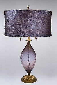 Nicole: Caryn Kinzig and Susan Kinzig: Mixed-Media Table Lamp - Artful Home Purple Lighting, Lamp, Chandelier Lamp, Purple Lamp, Diy Lamp Shade, Ceiling Fan With Light, Lights, Art Deco Lamps, Floor Lamp Design