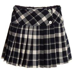 Malvi & Co Girls Navy Blue Tartan Skirt at Childrensalon.com
