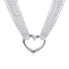 Sale 30% (11.36$) - YUEYIN Multi-line Simple Heart Pendant Necklace For Women