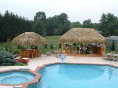 Deck Design Gallery/Tiki Huts and Bars/Tiki-bar-hut-by-pool Above Ground Pool Decks, In Ground Pools, Backyard Plan, Backyard Ideas, Backyard Patio, Patio Ideas, Garden Ideas, Bali Huts, Rustic Pergola