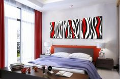 3249 Handmade 3 Piece Black White Red Modern Abstract Wall Art Oil Painting On Canvas Large Pictures For Bedroom Unique Gift $49.00