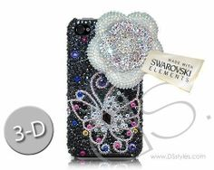 Floral Butterfly 3D Bling Swarovski Crystal Phone Case - Silver             http://www.dsstyles.com/product/floral-butterfly-3d-bling-crystal-phone-case---silver