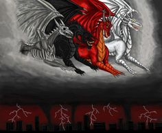 The Dragons of Apocalypse, by Ravenfire5 on DeviantArt.  The white dragon is Conquest, the red dragon is War, the black dragon is Famine or Disease, and the bone dragon is Death itself.