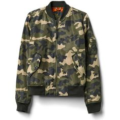 Gap Women Nylon Camo Bomber Jacket (295 RON) ❤ liked on Polyvore featuring outerwear, jackets, camo print, regular, nylon bomber jacket, camo bomber jacket, camoflage jacket, nylon flight jacket and camoflauge jacket