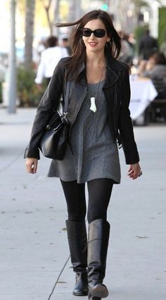 Sweater Dress with Black Leggings and Boots