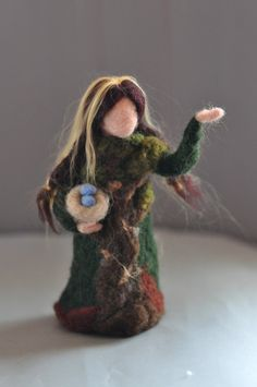 Needle felted Waldorf Forest Maiden-standing doll-soft sculpture--needle felt by Daria LvovskyMade to custom order. $42.00, via Etsy.