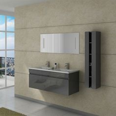 DIS980GT Meuble salle de bain gris taupe