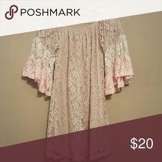 Lace off the shoulder dress This cream, khaki, and lace off the shoulder dress is perfect for summer nights!!! It was worn only once to a wedding!! Like new! Another fun boutique piece! By Together Dresses Mini