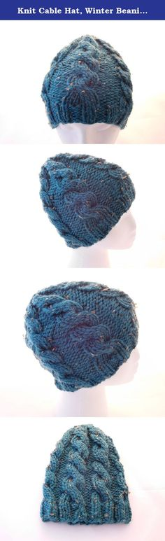 Knit Cable Hat, Winter Beanie for Women. Hand knit cabled beanie for women. This beautiful hat features a cable pattern that continues all the way around the hat. It is made with beautiful blue/green color acrylic yarn with flecks of brown and tan. The hat measures 8 1/2 inches top to bottom and will fit a head circumference of 21 - 23 inches, which is an average women or teen girl size. Made in a smoke free home. Hand wash and lay flat to dry.